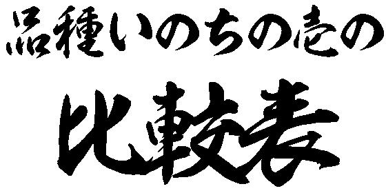 品種いのちの壱の比較表